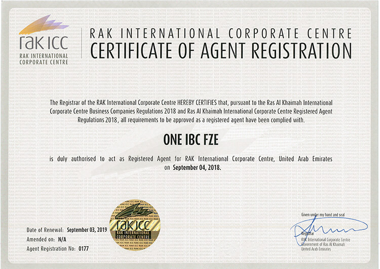 One IBC was granted Certificate of Registered Agent  in United Arab Emirate